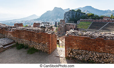 walls of ancient Teatro Greco in Taormina - travel to Italy...