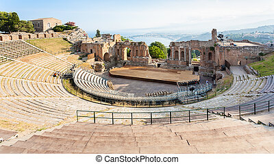 above view of ancient Teatro Greco in Taormina - travel to...
