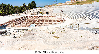 Greek theatre in Syracuse city in Sicily - travel to Italy -...