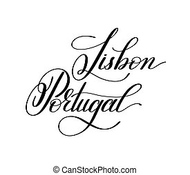 hand lettering the name of the European capital - Lisbon...