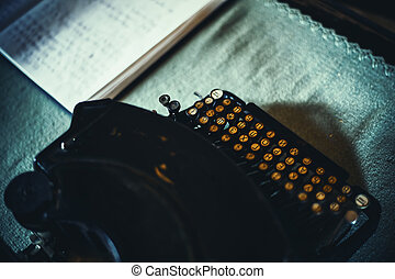 Typewriter With Cyrillic Letters - Closeup view on an old...