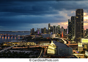 Miami downtown at night
