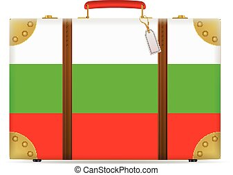 Bulgaria flag travel suitcase on a white background.