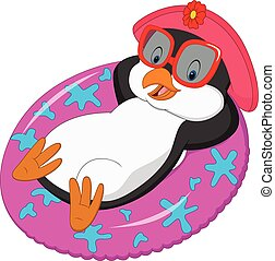 Cartoon female penguin relaxing on inflatable ring - Vector...
