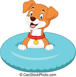 Cartoon dog with inflatable ring - Vector illustration of...