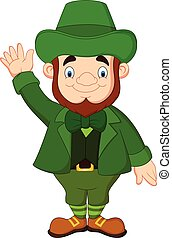 Cartoon leprechaun waving hand