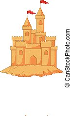 Cartoon sandcastle isolated on white background - Vector...
