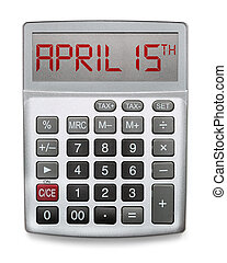 Calculator showing the day taxes are due, April 15th