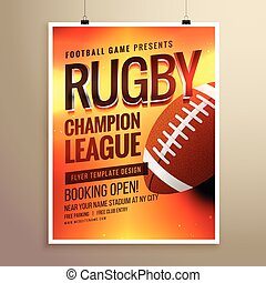 amazing vector rugby flyer poster design template with event details