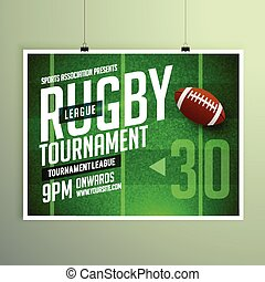 rugby game event flyer poster design vector template