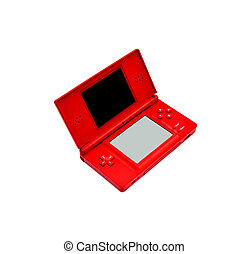 Red portable video-game isolated on white.