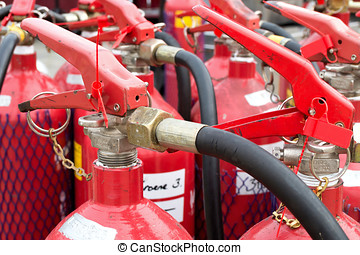 fire extinguishers - group of fire extinguishers