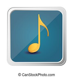 button of sign eighth note in yellow with background blue...