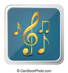button of sets musical notes in yellow with background blue...