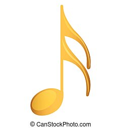 semiquaver note in golden with background white vector...