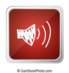 button of audio speaker volume with background red and hand drawn