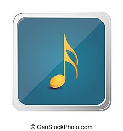 button of semiquaver note in yellow with background blue...