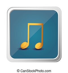 button of musical note in yellow with background blue vector...