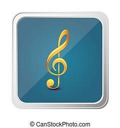 button of treble clef in yellow with background blue vector...