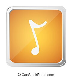 button of sign eighth note with background yellow and hand...