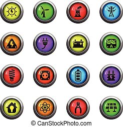 electricity icon set - electricity icons on color round...