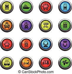 public transport icon set - public transport icons on color...