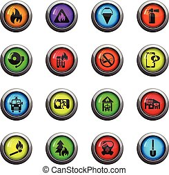 fire brigade icon set - fire brigade icons on color round...