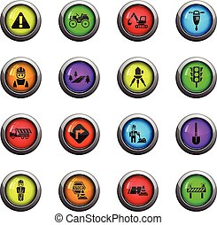 road repairs icon set - road repairs icons on color round...