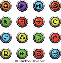 arrow icon set - arrow icons on color round glass buttons...