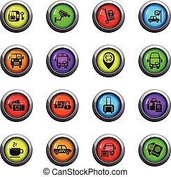 bus station icon set - bus station icons on color round...