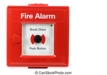 push-button fire alarm isolated on white background