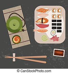 Delicious sushi, rolls and tee