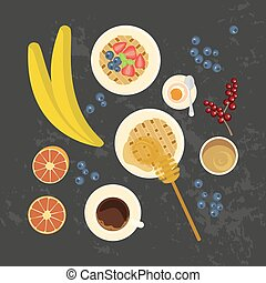 Breakfast with cup of coffe - Breakfast with waffles, fruit,...