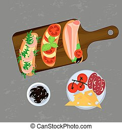 Bruschetta on the grey background. Top view Vector...