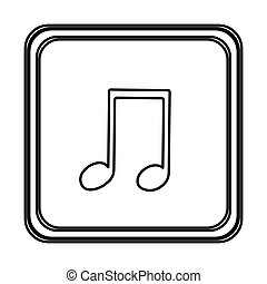 monochrome contour with button of musical note vector...