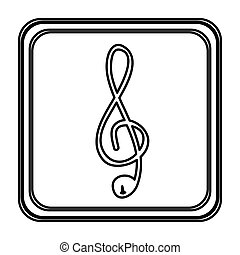 monochrome contour with button of treble clef vector...