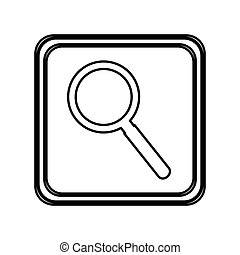 monochrome contour of button with magnifying glass