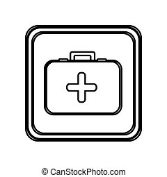 monochrome contour of button with first aid kit