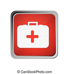 button with first aid kit with background red