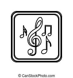 monochrome contour of button with set of musical note vector...
