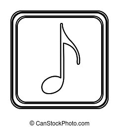 monochrome contour with button of sign eighth note vector...