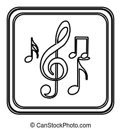 monochrome contour with button of sets musical notes vector...