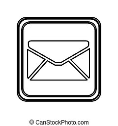 monochrome contour of button with envelope closed