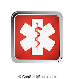 button with star of life with background red vector...