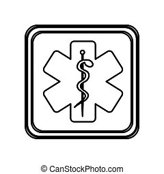 monochrome contour of button with star of life vector...