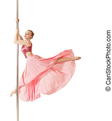 Poledance woman posing in beautiful pink dress - Young slim...