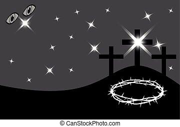 Easter - Golgotha, three crosses, - Three crosses standing...