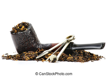 briar pipe with tobacco isolated on white background