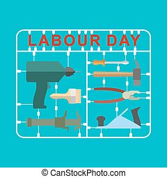 Labor Day is set of tools. Plastic kit with metalwork...
