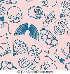 tattoo seamless pattern. Skull and brass knuckles. Rose and heart with an arrow. Wings and cross. Crown and dollar. Diamond
